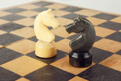 Chess knights conflict Royalty Free Stock Image