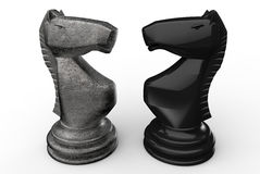 Chess knights face to face. 3D rendered illustration of two chess knights. The composition is isolated on a white background with shadows Stock Photo