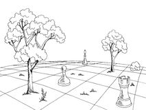 Chess landscape graphic black white sketch illustration. Vector Royalty Free Stock Photo