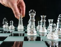 Chess - The Last move. The Last Move in Chess with Motion Blur on hand Stock Photos