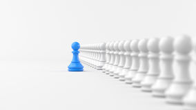 Chess. Leadership concept, blue pawn of chess, standing out from the crowd of white pawns, on white background. 3D rendering stock illustration