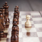 Chess leadership concept on the chessboard Stock Images