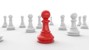 Chess. Leadership concept, red pawn of chess, standing out from the crowd of white pawns, on white background. 3D rendering Stock Images