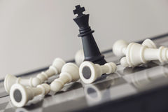 Chess leadership and success concept, chess save the strategy an. D king on chess board Royalty Free Stock Photos