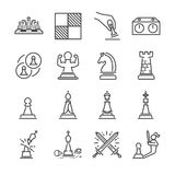 Chess line icon set Royalty Free Stock Image