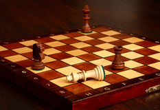 Chess. Loss, made judgment, fall of the King Royalty Free Stock Photo