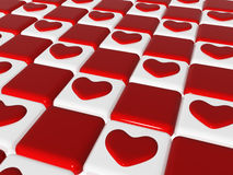 Chess love 2, 3d red hearts over chess-board. Many 3d red hearts over red and white chess-board, background Stock Photos