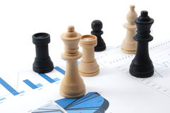 Chess man over business chart Stock Photography