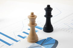 Chess man over business chart Royalty Free Stock Photos