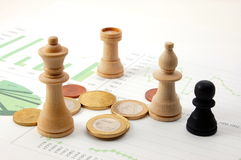 Chess man over business chart Royalty Free Stock Image