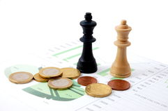 Chess man over business chart Royalty Free Stock Photography