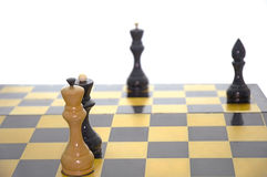 Chess mat. Closing chess game. On a white background Stock Photo