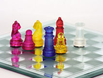 Chess Match. Chess game in glass boarding playing challenge stock photos