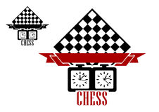 Chess Match Logo With Chess Board And Clock Stock Photos