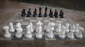 Chess set outdoors Stock Photo