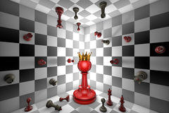 Chess Messiah. Big red pawn and a golden crown. Closed chess space. Many small chess Royalty Free Stock Image