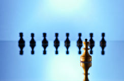 Chess on a mirror table Stock Photo