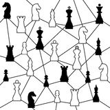 Chess network. Creative and smart network of chess pieces Royalty Free Stock Photos