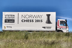 Chess Norway. Stavanger, Norway - June 12, 2015: Advertising Norwegian chess competitions on the car. Car of the island Rennesoy. County Rogaland region stock images