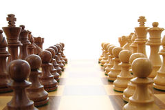 Chess opposing forces. Chess opponents set up close together Stock Photo