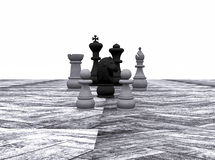 Chess on outdoor chess. 3d illustration of chess on the main floor of wood Royalty Free Stock Images