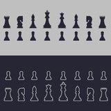Chess. Outline and flat icons. On grey and blue background. Vector image. stock illustration