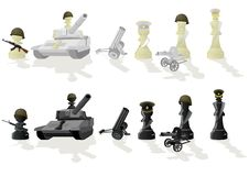 Chess paramilitary figures. Chessmen styled soldiers and military equipment. Illustration on a white background Royalty Free Stock Photos