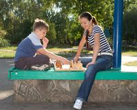 Chess in park Royalty Free Stock Photos