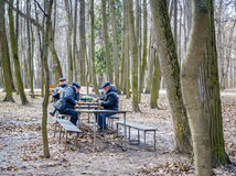 Chess in a park. MOSCOW, RUSSIA - APRIL 10, 2015: Pensioners are playing chess in Tsaritsyno Park in Moscow Stock Images