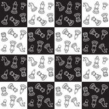 Chess pattern. Pattern with chess figure. Black and white pattern Royalty Free Stock Photos