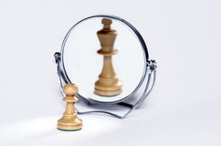 Chess pawn, chess king. Chess pawn, contrast, mirror reflection, chess king Stock Image