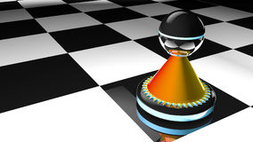 Chess pawn  in 3D illustration. High quality three-dimensional generated illustration Stock Photo