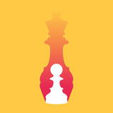 Chess pawn dropping shadow of queen. Chess pawn dropping shadow of a queen. Strength aspiration and leadership concept. Vector illustration in trendy style Royalty Free Stock Images