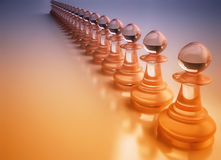Chess Pawn Figures on Reflective Surface Royalty Free Stock Photos
