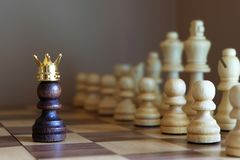 Chess pawn with golden crown confront the enemy team. Business leadership concept. Copy space stock photo