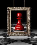 Chess pawn on golden frame. Red chess pawn.  Digital graphic Stock Image