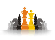 Chess Pawn Leader. Ship for the solider Team stock illustration