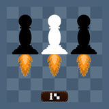 Chess pawn off on directed the jets on a chess Board. Education, the game of chess stock illustration
