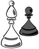 Chess pawn and rook on white Stock Photo