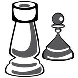 Chess pawn and rook on white Royalty Free Stock Image