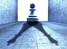 Chess pawn with the shadow of a king Royalty Free Stock Image