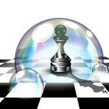 Chess Pawn in Soap Bubble. 3D Vector Illustration. Chess Background with Pawn in Soap Bubble Space that Imagined Itself as King. Risk and Aspirations Concept. 3D royalty free illustration