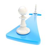 Chess pawn turns into the king over the arrow isolated Royalty Free Stock Images