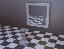 Chess pawn watching in mirror with king reflection. Stock Photography
