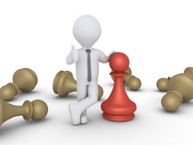 Chess pawn winner amongst others Royalty Free Stock Images