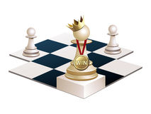 Chess pawn won and became Queen. Vector image of a Chess pawn is won and became Queen Royalty Free Stock Images