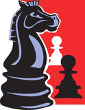 Chess pawns. On red back ground Stock Image