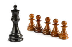 Chess pawns and chess king Stock Images
