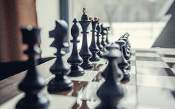 Chess pawns on the chessboard Stock Photo