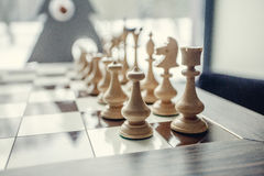 Chess pawns on the chessboard. Royalty Free Stock Photos